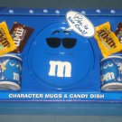 M&M's Character Mugs & Candy Dish Plate Gift Set Lot of 3 Blue Red Green Ceramic Galerie NIP
