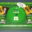 Plain Green M&M's Character Mugs & Candy Dish Plate Gift Set Ceramic Galerie Too Cool NIP