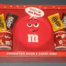 Plain Red M&M's Character Mugs & Candy Dish Plate Gift Set Ceramic Galerie Too Cool NIP