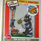 The Simpsons Itchy & Scratchy Show Pain-O-Meter Tin Action Toy Game Rocket USA 850 NIB 2002