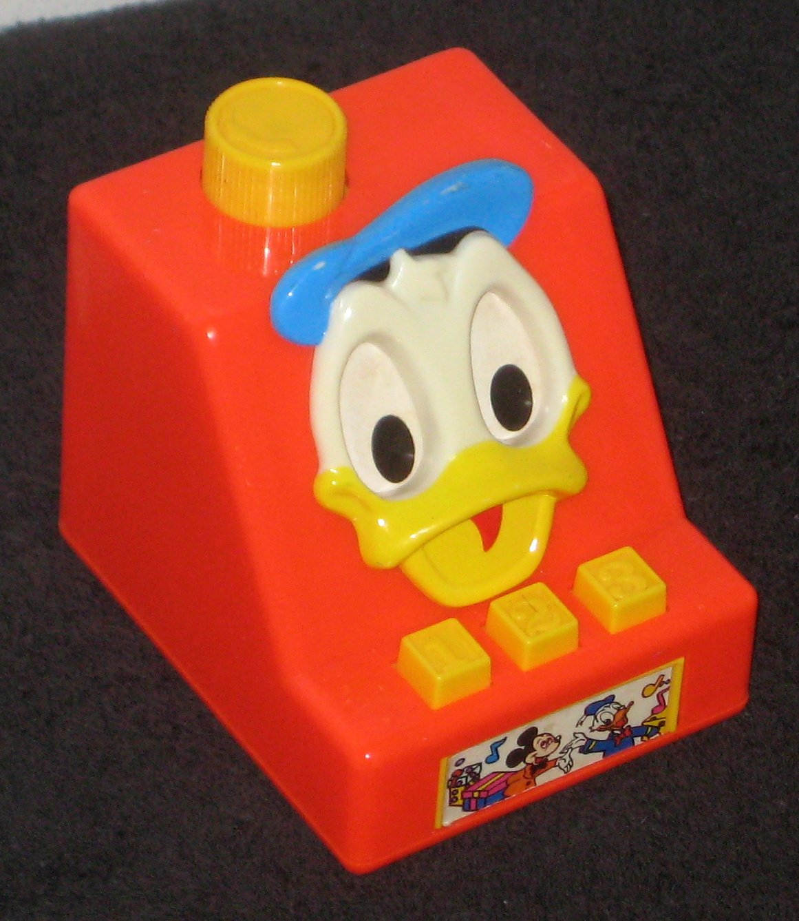 Donald Duck Illco Wind-Up Musical Cash Register 1980 Music Box Disney Working Plays Frère Jacques