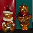 Disney Classic Winnie the Pooh Blown Glass Christmas Ornaments Germany Santa Claus Angel1997 1998