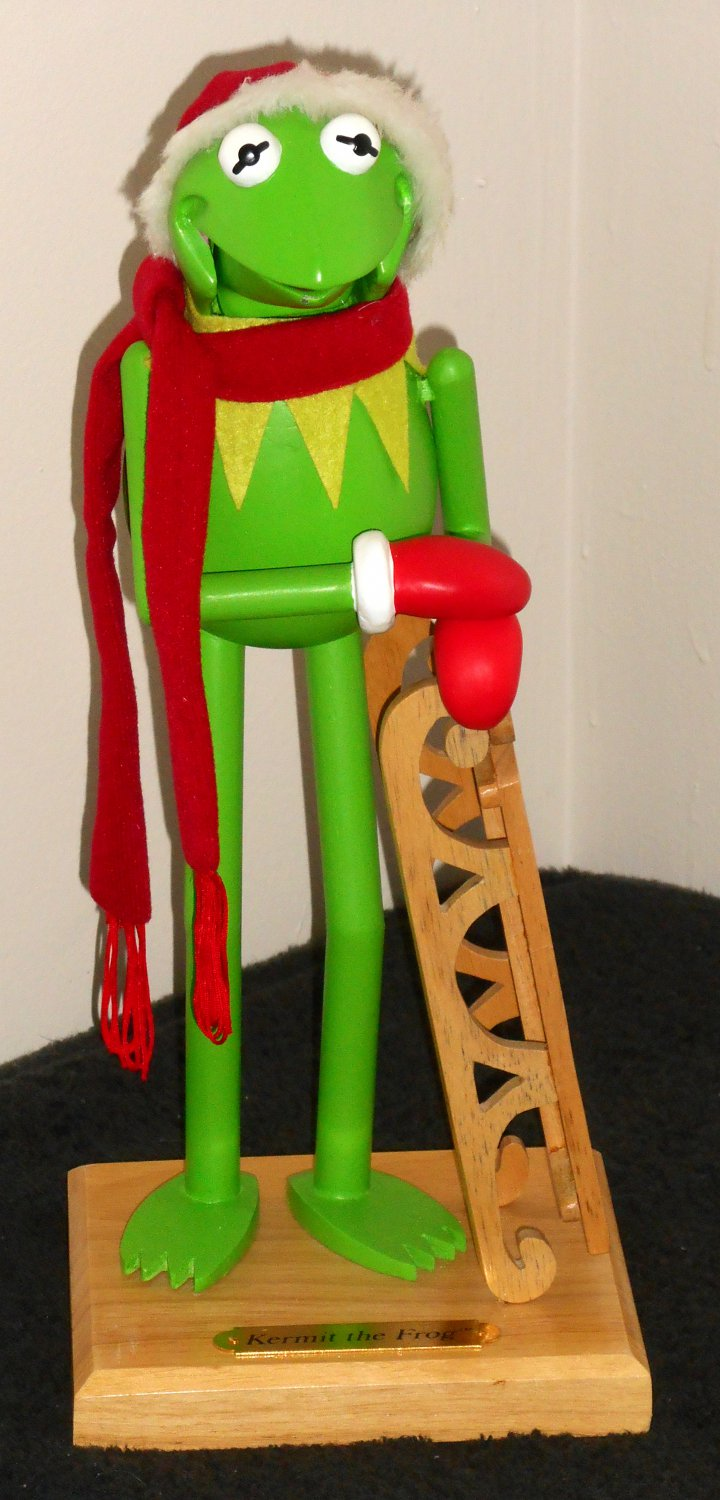 SOLD Kermit the Frog Christmas Lot Wooden Nutcracker + Squeeze Toy ...