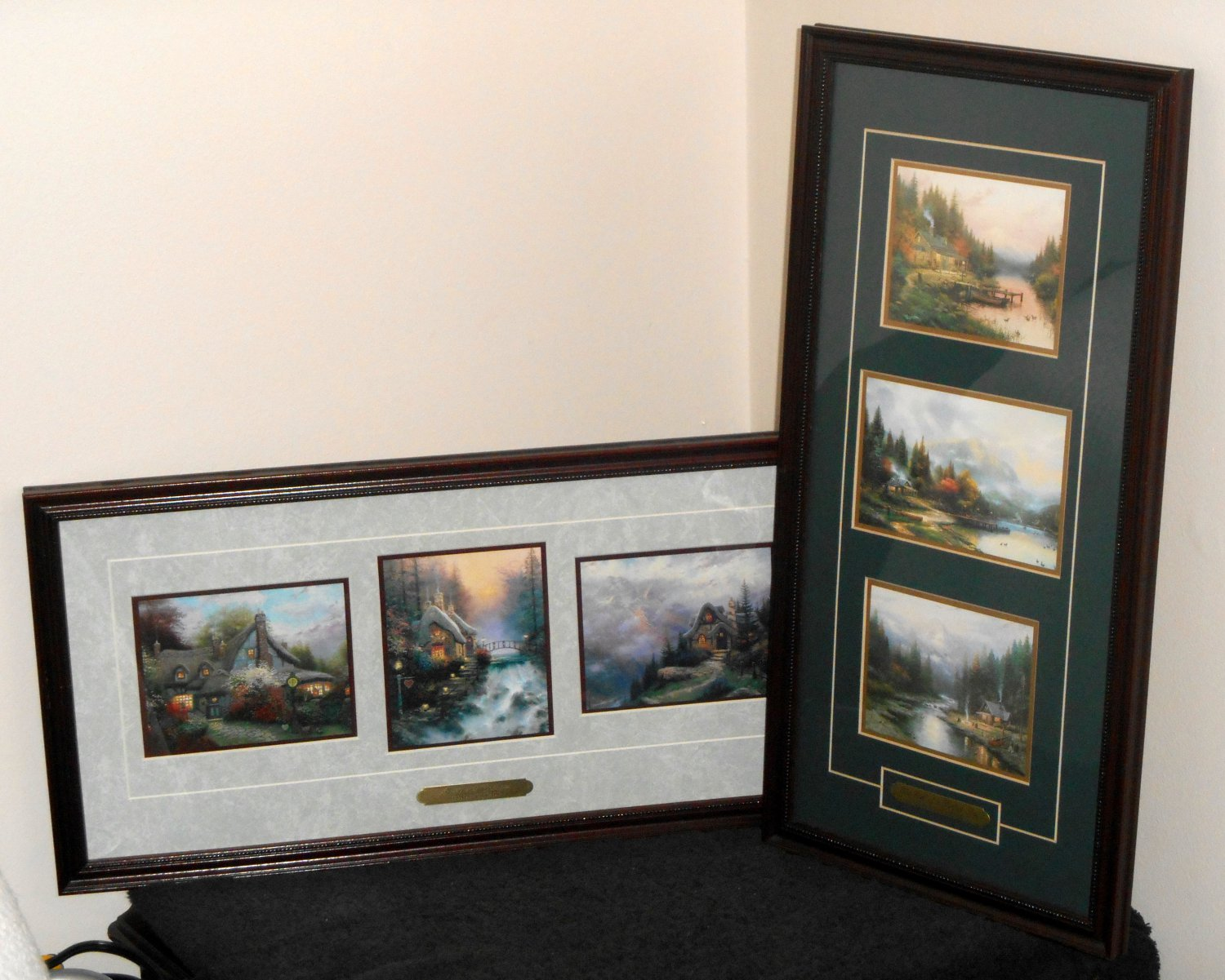 Thomas Kinkade Accent Prints x6 COA Sweetheart Cottages The End of A Perfect Day Framed Matted 1996