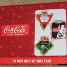 Coca-Cola 10 Piece Light String Set with Cord Christmas Old Coke Signs NEW NIB