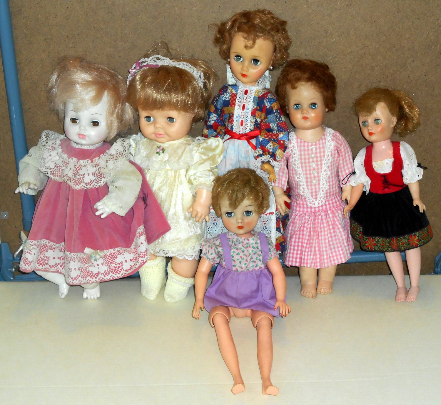 Vintage Baby Doll Lot of 6 Horsman Sleepy Eyes Walking Hard Soft Body Pale 14 to 18 Inch