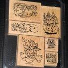 Stampin' Up Darling Dragons Rubber Stamp Set of 6 Stamper Never Used Wooden Base 2002