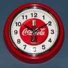 Coca Cola Metal Wall Clock Coke 9½ Inch Diameter Battery Operated Glass Cover