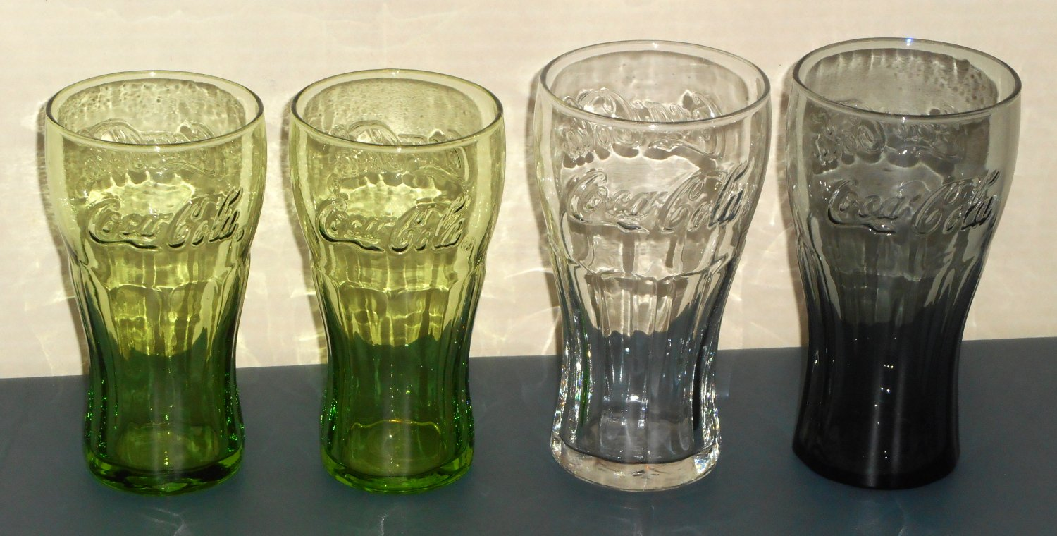 SOLD OUT Coca-Cola Drinking Glass Lot of 5 Embossed Coke McDonald's Green Clear Charcoal Rockwell