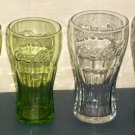 Coca-Cola Soda Drinking Glass Lot of 4 Embossed Coke Tumblers McDonald's Lime Green Clear Charcoal