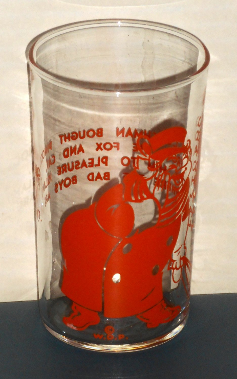 Coachman Drinking Glass Tumbler Orange Pinocchio Walt Disney Productions WDP