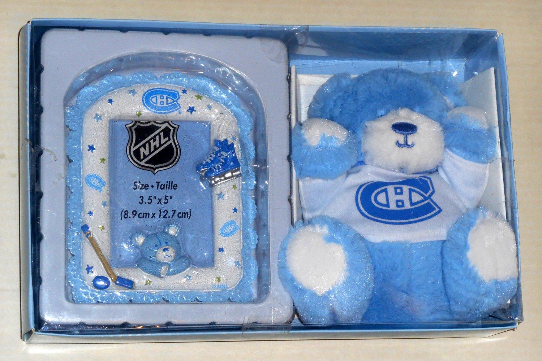 Montreal Canadiens Baby Boy Shower Gift Set Pack Blue Plush Bear Picture Frame Habs Hockey NHL NIB