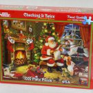 Checking It Twice 1000 Piece Jigsaw Puzzle Santa Claus Christmas White Mountain NIB 2011