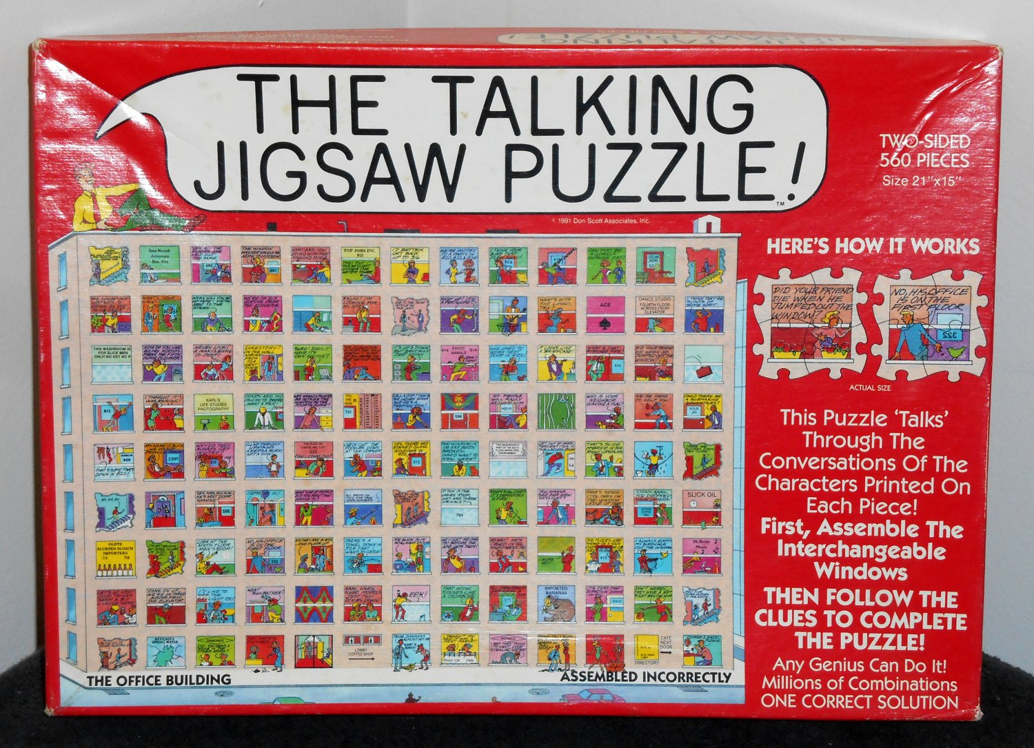 Buffalo Games The Talking Jigsaw Puzzle Office Building 560 Pieces 1991 Don Scott COMPLETE