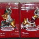 Vixen Prancer Glass Christmas Ornament Lot CVS 2010 Exclusive Rudolph Red Nosed Santa's Reindeer NIP