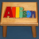 Allison Wooden Name Puzzle Stool Step Bench Foot Colors
