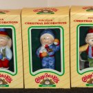 Cabbage Patch Kids CPK 9108 Porcelain Christmas Ornament Decoration Lot of 3 OAA 1984