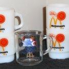 McDonalds Coffee Mug Lot Fire King Milk Glass Pilsner Beer Olympics Golden Arches Fast Food