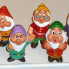 Snow White & the Seven 7 Dwarfs Soft Rubber Plastic Squeak Toy Figures Walt Disney