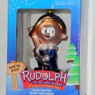 Hermey Hand Crafted Glass Ornament Rudolph & the Island of Misfit Toys Brass Key Herbie NIB
