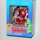 Round Rudolph Hand Crafted Glass Ornament Rudolph & the Island of Misfit Toys Brass Key NIB