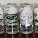 WWII Aircraft Fighter Planes Drinking Glass Lot of 6 Curtis P-40 ME 109 B-25 Spitfire Zero B-17