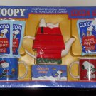 Snoopy Woodstock Gift Set Ceramic Teapot Mugs Peanuts Gang Christmas Holiday Handpainted NIB NEW