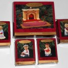 Hallmark Keepsake Ornament Complete Set The Bearingers Fireplace Mama Papa Abearnathy Bearnadette
