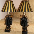 Vintage Ceramic Black Unicorn Table Lamps With Shades 14 Inch Gold Trim Pair Set of Two 2 Fantasy