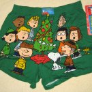 Peanuts Gang Holiday Boxer Shorts Extra Large 40-42 Underwear Green Christmas Snoopy Charlie Brown