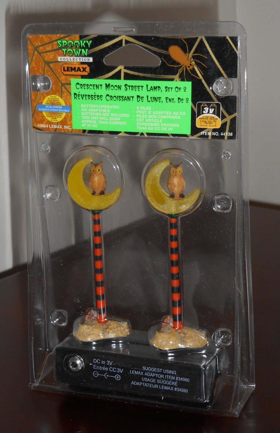 Crescent Moon Street Lamp Set of 2 Lemax 44138 Spooky Town Collection Battery Operated Halloween