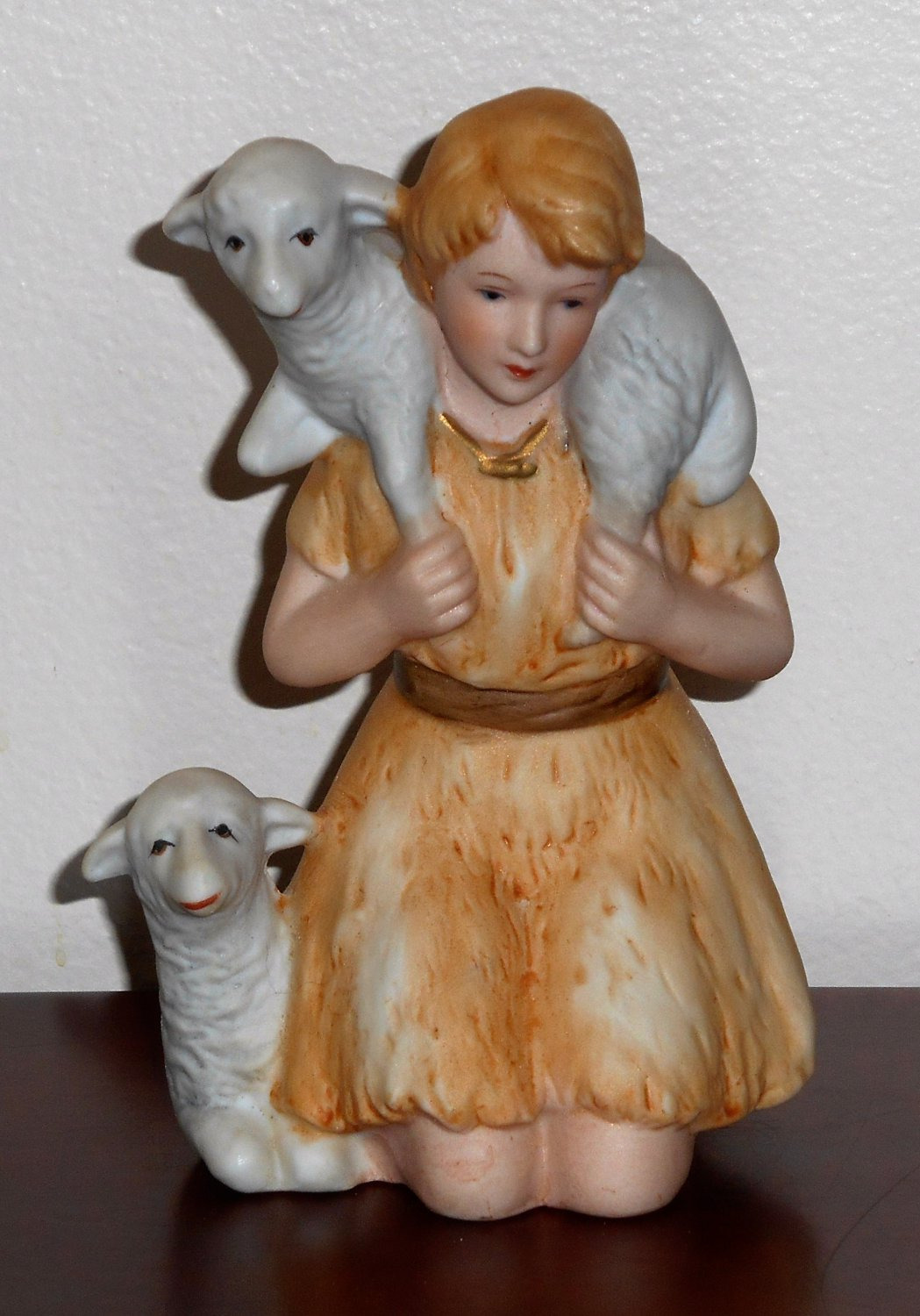 Shepherd Boy Lambs Porcelain Figurine Homco 5603 Nativity