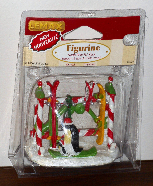 Lemax Christmas Village Accessory 62239 North Pole Ski Rack Penguins Polyresin Figurine 2006 NIP