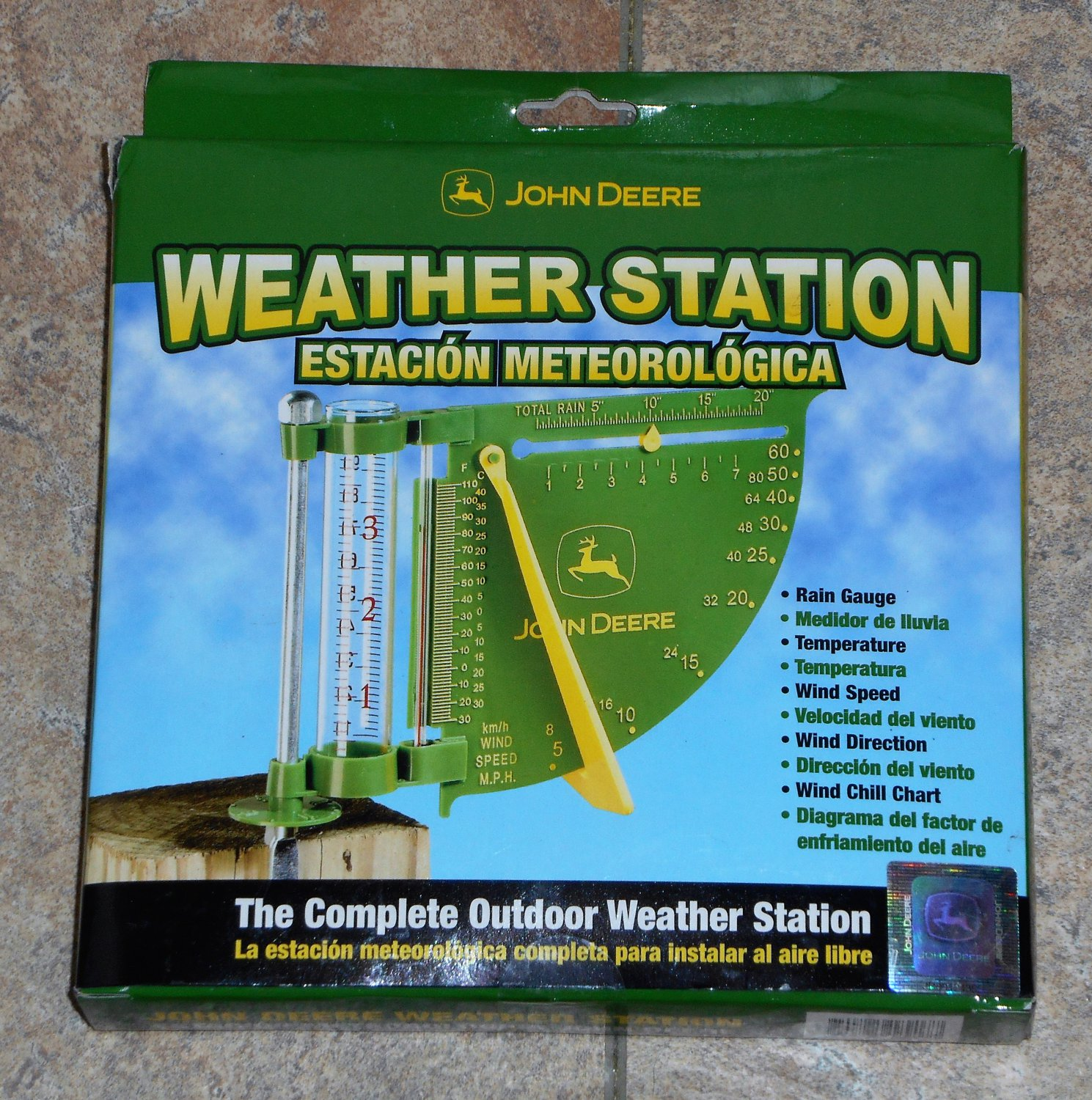 John Deere Weather Station Wind Speed Direction Temperature Rain Gauge NIB