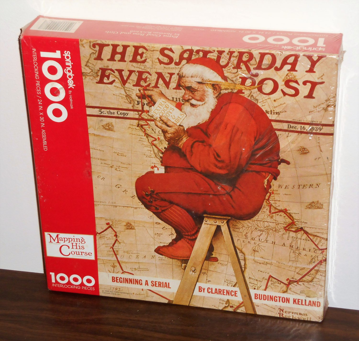 Mapping His Course Santa Claus 1000 Piece Jigsaw Puzzle Springbok XZL6137 Norman Rockwell NIB