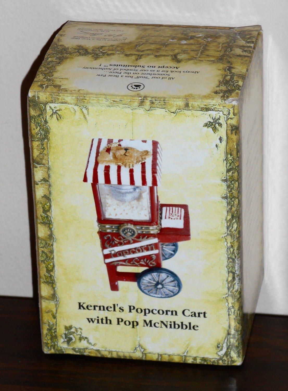 Boyds Bears Kernal's Popcorn Cart with Pop McNibble 1E 392177 Treasure Boxes NIB