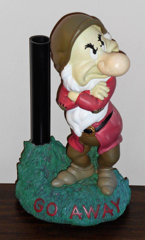 Grumpy GO AWAY Solar Light Base Garden Statue Snow White and the Seven Dwarfs Disney