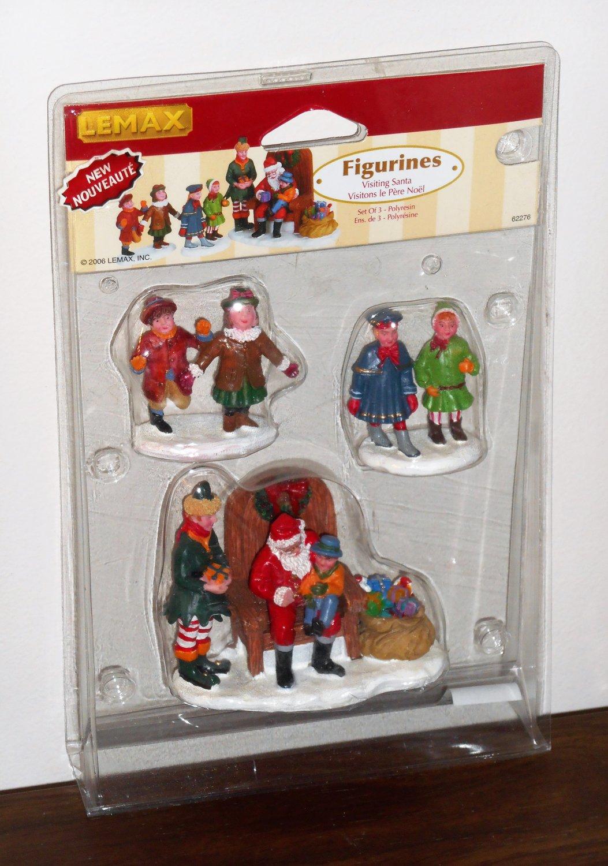 Lemax Christmas Village Collection Figurines 62276 Visiting Santa Claus Set of 3 2006 NIB