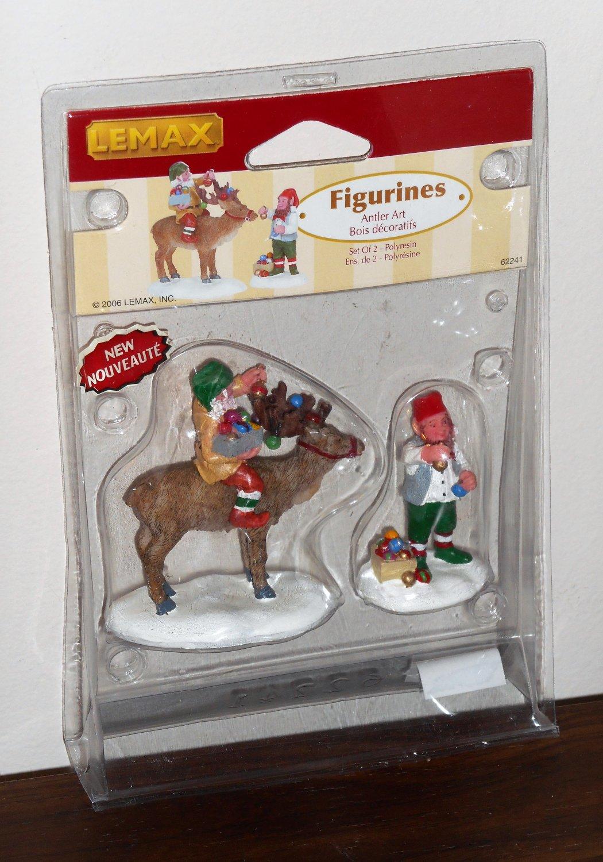 Lemax Christmas Village Collection Figurines 62241 Antler Art Reindeer Set of 2 2006 NIB