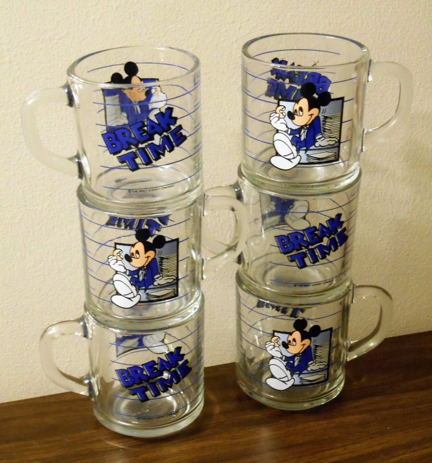 Mickey Mouse Anchor Hocking Coffee Mug Lot of 6 Break Time 3½ Inch Clear Glass Handled Walt Disney