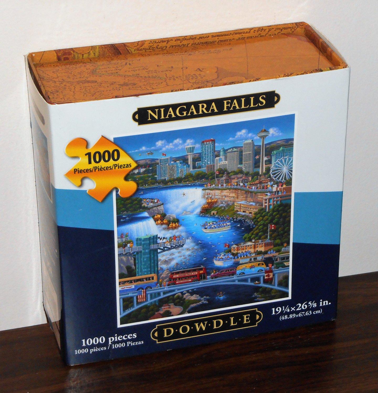 Eric Dowdle 1000 Piece Jigsaw Puzzle Niagara Falls Folk Art Map Box NIB Sealed 19 x 27