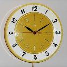 Vintage Lux Kitchen Wall Clock Retro Colors Yellow White Plastic Plugin Seven Inch Diameter