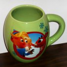 Rudolph The Red Nosed Reindeer Mug Christmas Holiday Ceramic Vandor Handled Green Hermey Holly Jolly