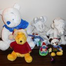 Disney Christmas Holiday Plush Toy Doll Lot Mickey Minnie Mouse Winnie the Pooh Tigger Eeyore White