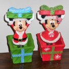 Santa Claus Mickey and Minnie Mouse Christmas Present Bobble Figures Resin Springy Atico