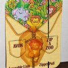 Avon Zip-A-Zoo Loveable Lovable Lion Zipper Pull NIP 1983