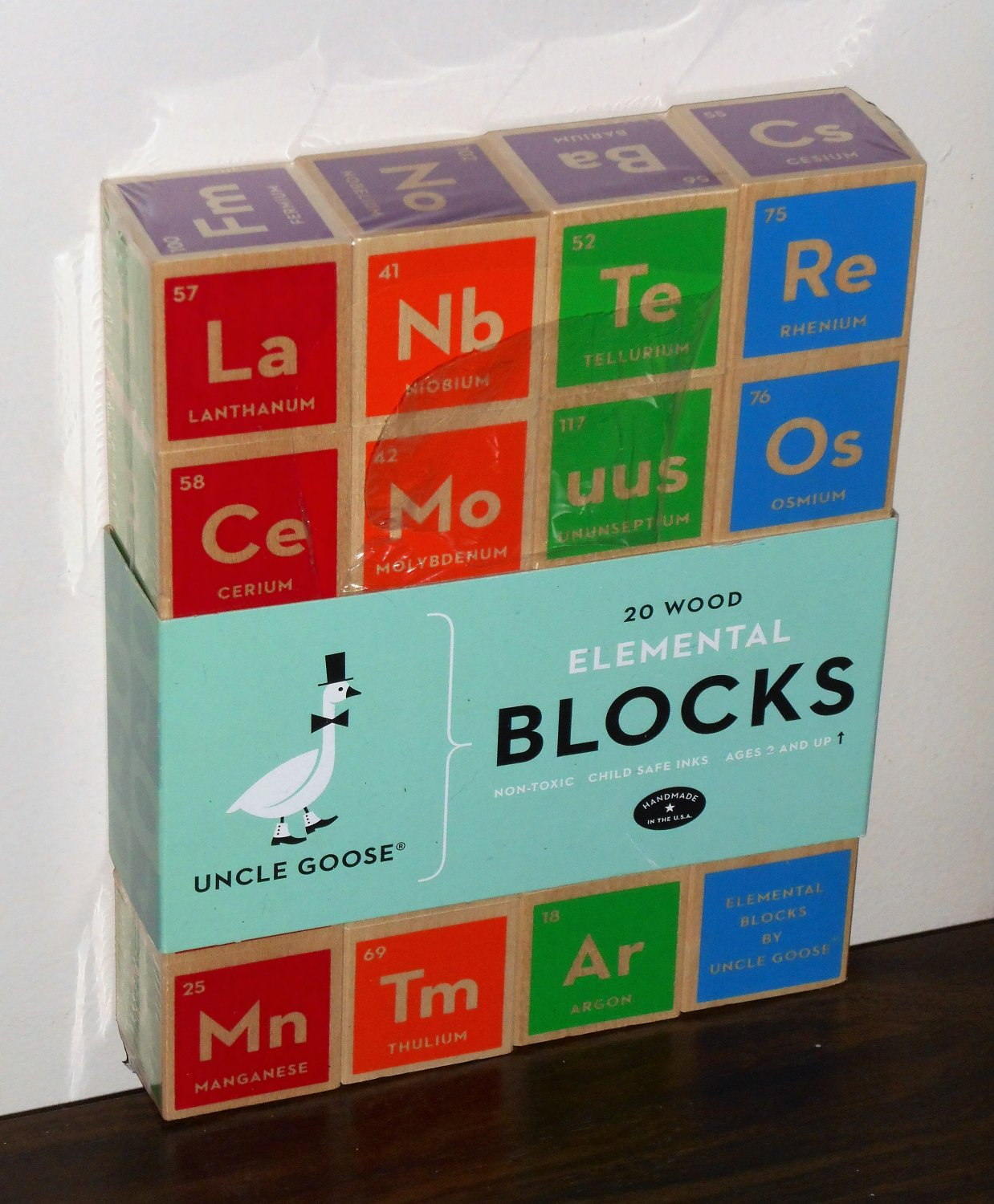Uncle Goose 20 Wood Elemental Blocks Periodic Table PT-20 Non-Toxic