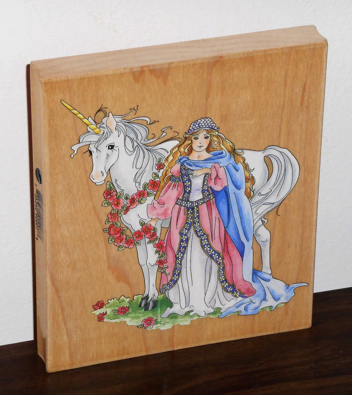 Unicorn & Maiden Large Rubber Stamp Stamper 90007 Fantasy Stamps Happen 5 x 5