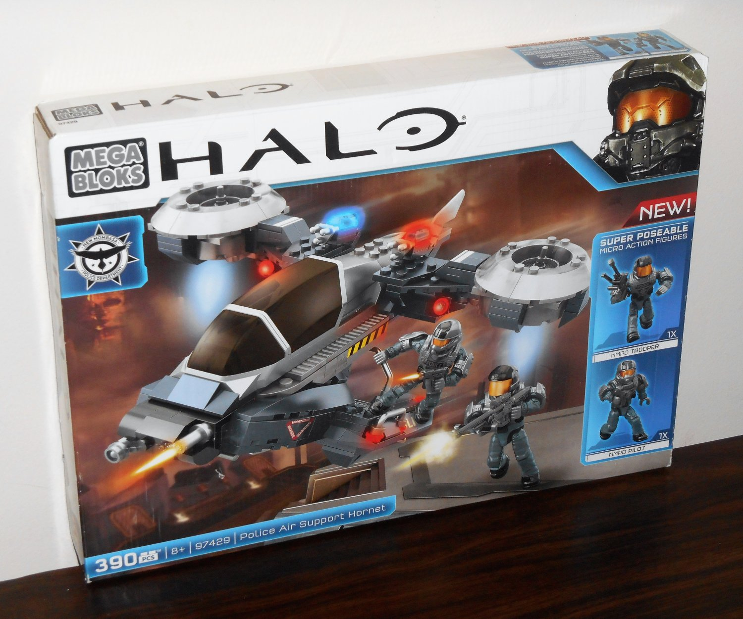 Mega Bloks 97429 Halo Police Air Support Hornet NIB 390 Pieces