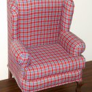 "Red Plaid Queen Anne Style Padded Doll Chair Wing Back Arm For 18"" Dolls"
